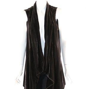 Lafayette 148 Size 14 Chocolate Open Cardigan